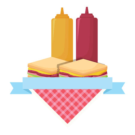 picnic emblem with sandwichs and sauce bottles over white background, vector illustration