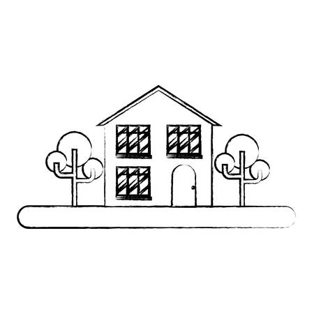 Landscape with modern house and street over white background, vector illustration
