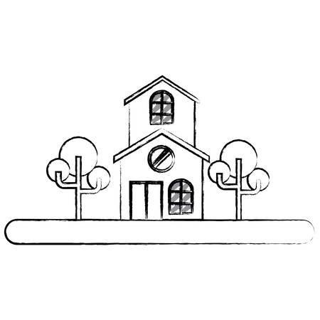 sketch of Landscape with modern house and street over white background, vector illustration
