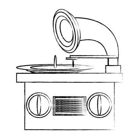 gramophone icon over white background, vector illustration