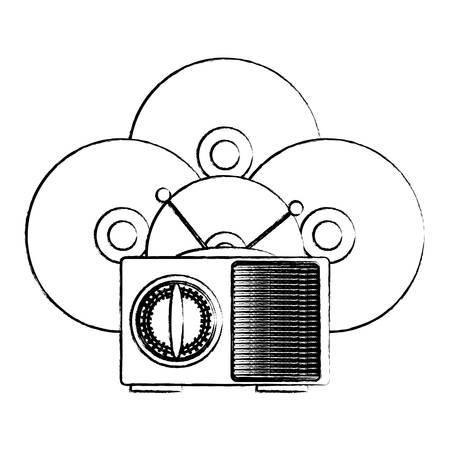 Radio retro y vinilos sobre fondo blanco, ilustración vectorial Ilustración de vector