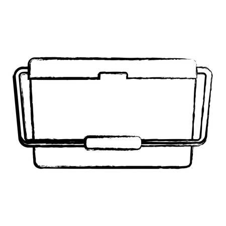 Icono de enfriador de alimentos sobre fondo blanco, ilustración vectorial