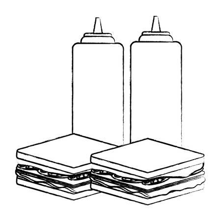 Sándwiches y botellas de salsa sobre fondo blanco, ilustración vectorial