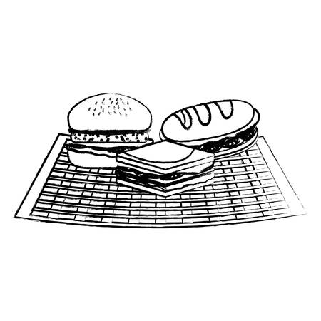 sandwichs and hamburger icon over white background, vector illustration