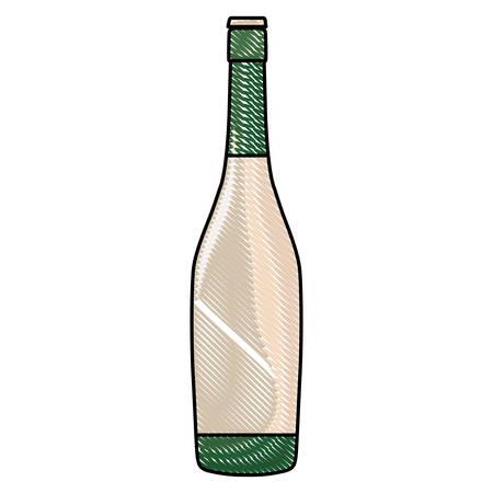 champagne bottle icon over white background, vector illustration