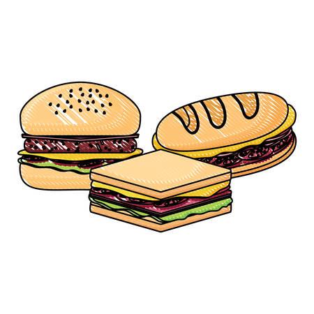 Icono de sándwiches y hamburguesas sobre fondo blanco, ilustración vectorial