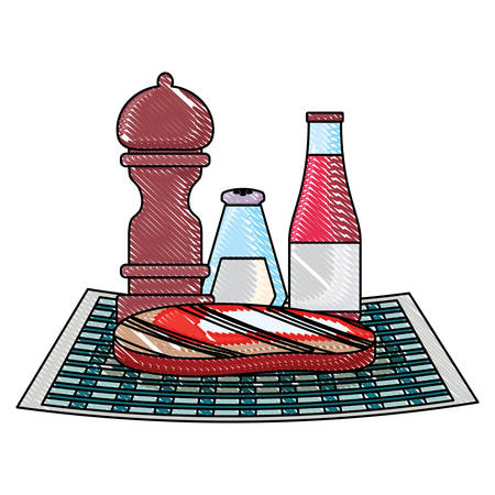 picnic food design with steak meat and sauce and condiments bottles over white background, vector illustration