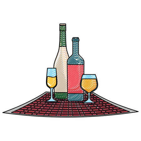 picnic tablecloth and wine and champagne bottle over white background, vector illustration  イラスト・ベクター素材