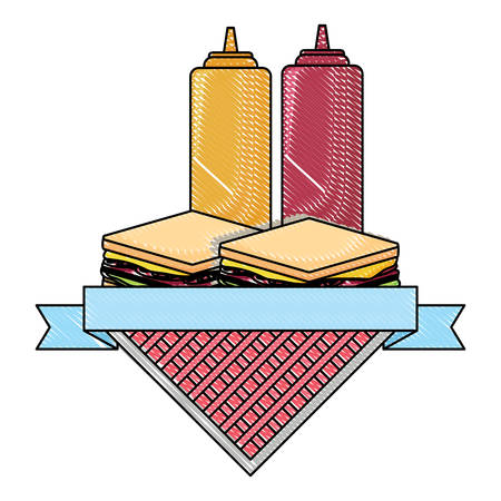picnic emblem with sandwichs and sauce bottles over white background, vector illustration Vectores
