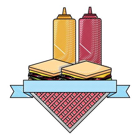 Emblema de picnic con sándwiches y botellas de salsa sobre fondo blanco, ilustración vectorial