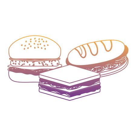sandwichs and hamburger icon over white background, vector illustration