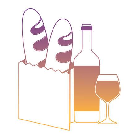 wine bottle and baguette breads over white background, vector illustration Illustration