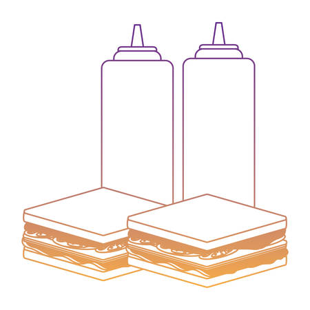 sandwichs and sauce bottles over white background, vector illustration