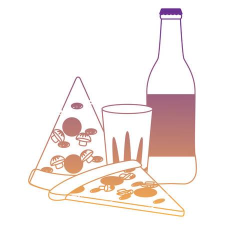 pizza slices and beer bottle over white background, vector illustration
