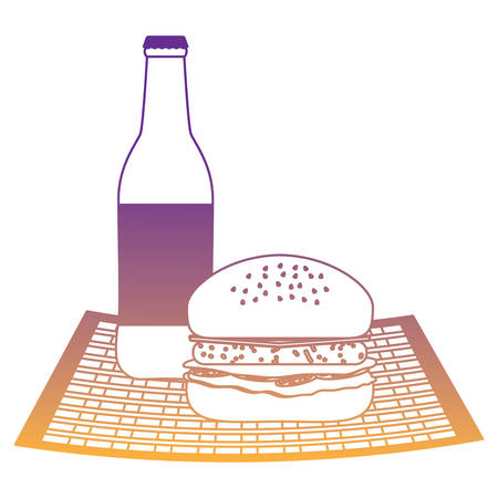 beer bottle and hamburger icon over white background, vector illustration