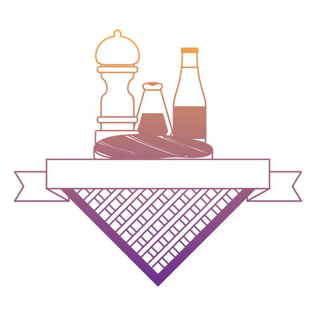 picnic emblem with meat steak and sauce bottles over white background, vector illustration