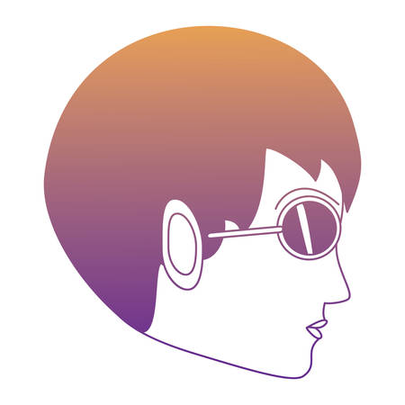 woman profile with sunglasses over white background, colorful design. vector illustration