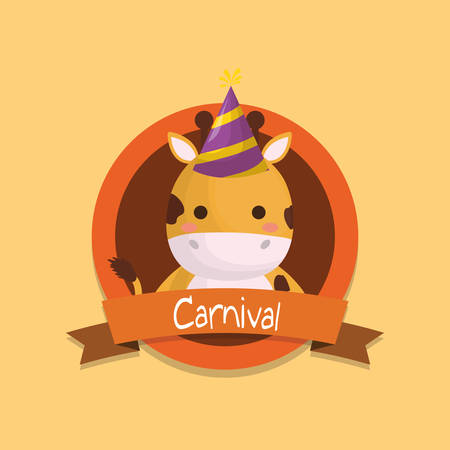 carnival emblem with cute giraffe with party hat over yellow  background, colorful design. vector illustration Banque d'images - 103663078