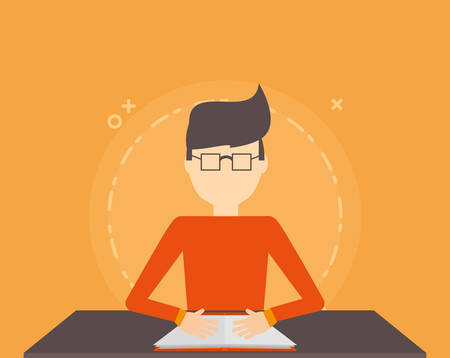 avatar man reading a book over orange background, colorful design. vector illustration