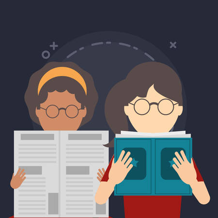 girls reading a newspaper and book over black background, colorful design. vector illustration