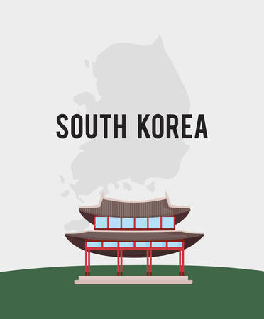 South korea design with Gyeongbokgung Palace icon over white background, colorful design. vector illustration