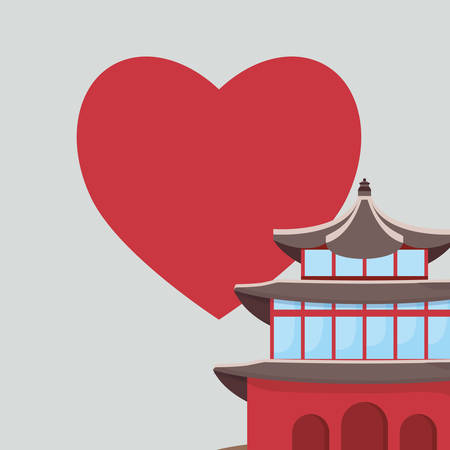 South korea iconic building and red heart over green background, vector illustration