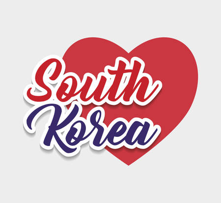 south korea design with red heart icon over white background, colorful design. vector illstration Illustration