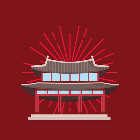 Gyeongbokgung Palace icon over red background, colorful design. vector illustration