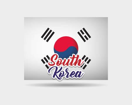 korea flag icon over white background, colorful design. vector illustration Illustration
