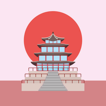 Iconic landmark of south korea over red circle and pink background, colorful design. vector illustration Illustration