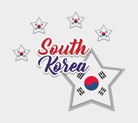 south korea flag in star shape over white background, colorful design. vector illustration Illustration
