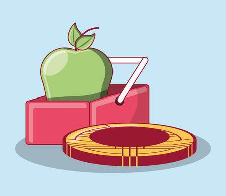 shopping basket with green apple and bitcoin coin over blue background, colorful design. vector illustration