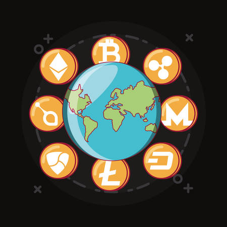 earth planet with cryptcoins around over black background, colorful design. vector illustration Ilustração