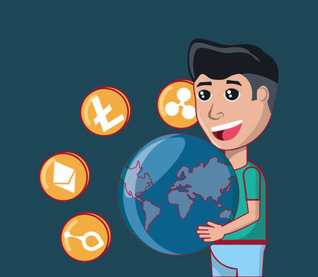 cartoon man holding a earth planet and cryptocoins around over blue background, colorful design. vector illustration