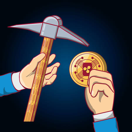 hand holding a pica tool and sia coin over blue background, colorful design. vector illustration