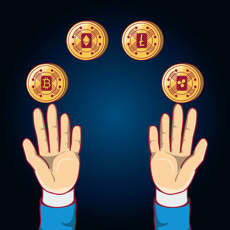 hands with cryptocoins around over blue background, colorful design. vector illustration