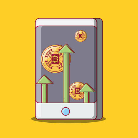 cellphone with crytocoins on screen over yellow background, colorful design. vector illustration Ilustração