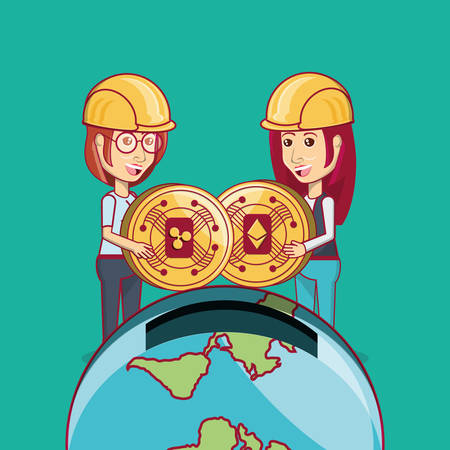 cartoon women with cryptocurrency coins and earth planet in moneybox shape over turquoise background, colorful design. vector illustration