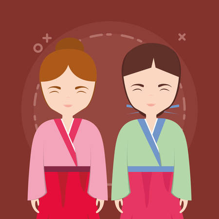 asian girls wearing a kimono over brown background, colorful design. vector illustration Illustration