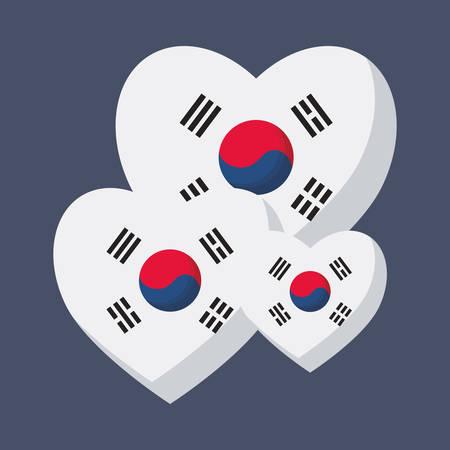 south korea flag in hearts shape over blue background, colorful design. vector illustration Illustration
