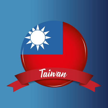 button with taiwan flag and decorative ribbon over blue background, colorful design. vector illustration