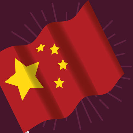 waving china flag over purple background, colorful design. vector illustration Çizim