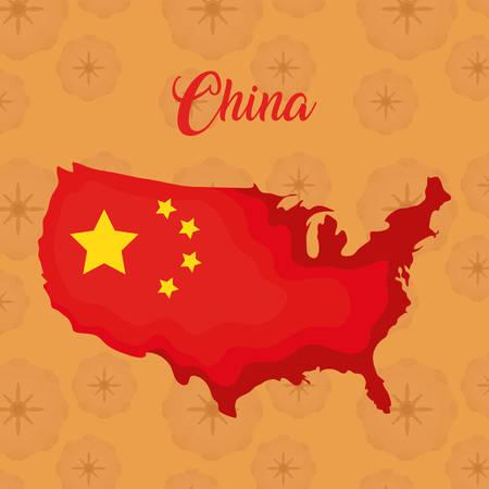 China flag in a map shape over orange background, colorful design. vector illustration