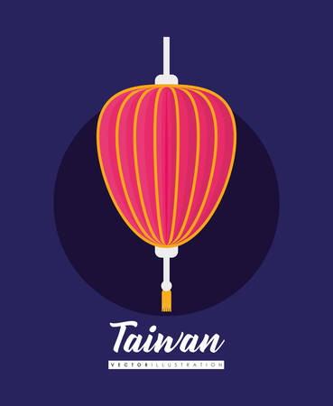 Taiwan design with decorative pink lantern icon over purple background, colorful design. vector illustration