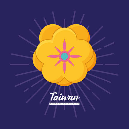 Taiwan design with beautiful yellow flower icon over purple background, colorful design. vector illustration Ilustração