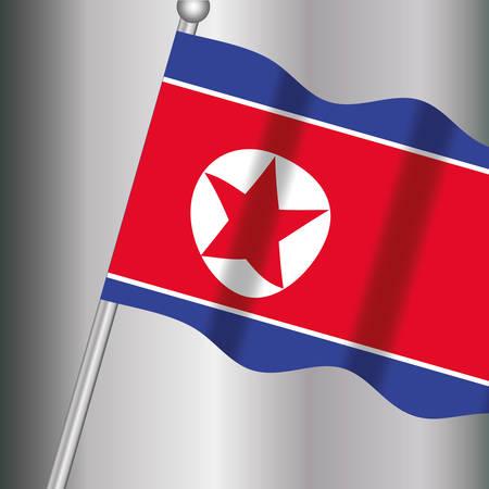 waving south korea flag over gray background, colorful design. vector illustration