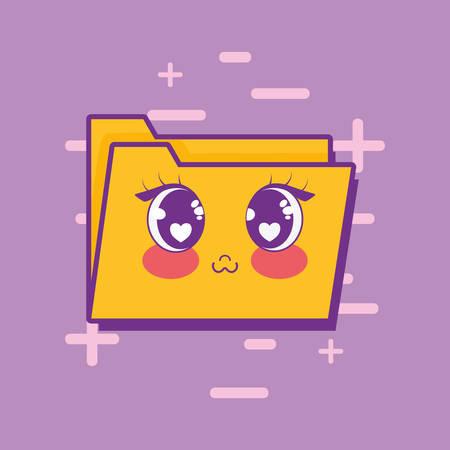 kawaii document folder icon over purple background, colorful design. vector illustration Illustration
