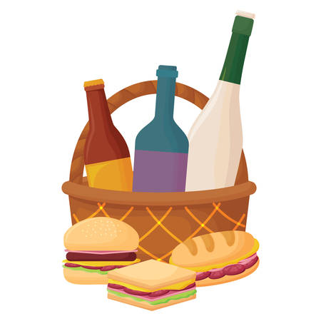 picnic basket with drink bottles and sandwichs icon over white background, vector illustration Foto de archivo - 103702845