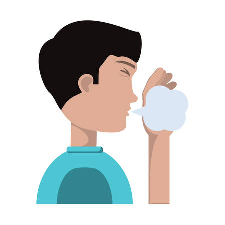 man coughing icon over white background, vector illustration Illustration