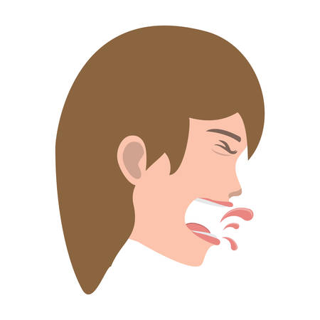 woman with tuberculosis icon over white background, vector illustration Illustration